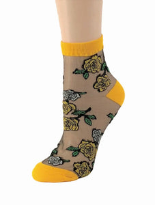 Sharp Orange Roses Sheer Socks - Global Trendz Fashion®
