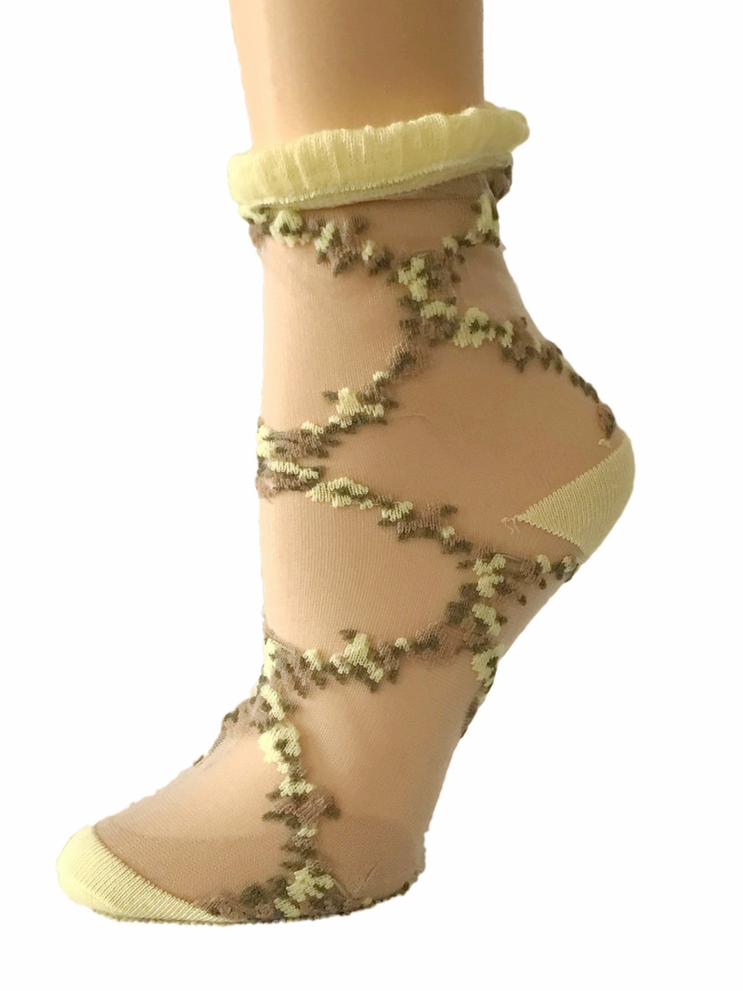Stunning Black/Yellow patterned Sheer Socks-Global Trendz Fashion®