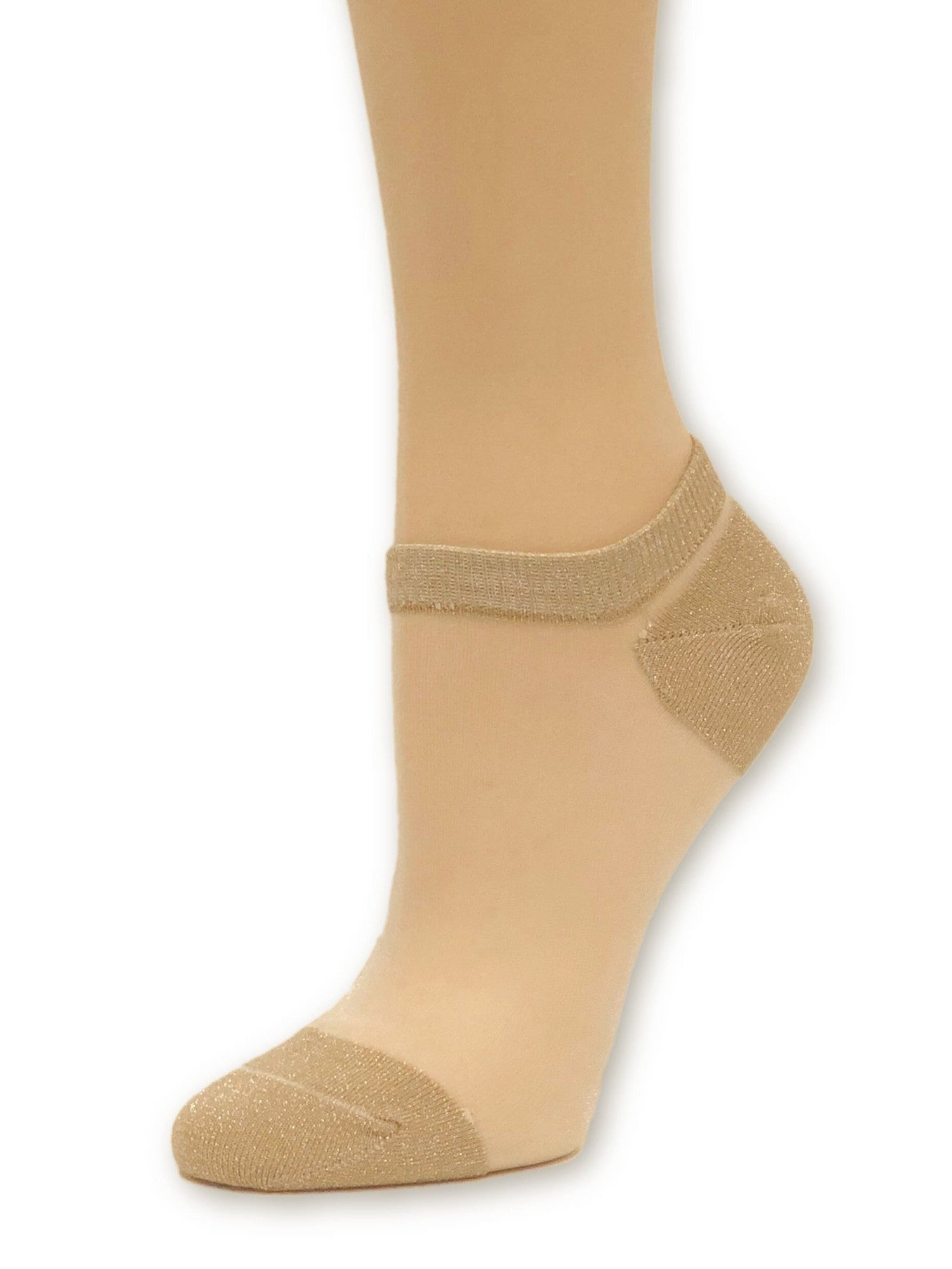 Light Gold Glittered Ankle Sheer Socks - Global Trendz Fashion®