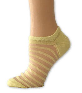 Stripped Yellow Ankle Sheer Socks- Global Trendz Fashion®