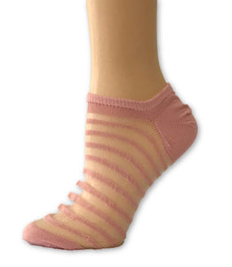 Stripped Baby Pink Ankle Sheer Socks - Global Trendz Fashion®