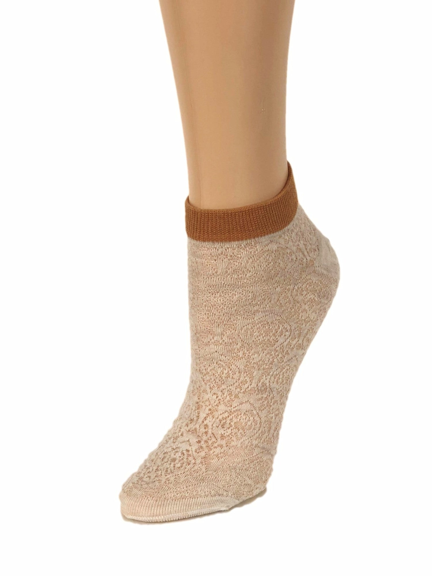 Maroon-Stripped Cream Ankle Sheer Socks - Global Trendz Fashion®
