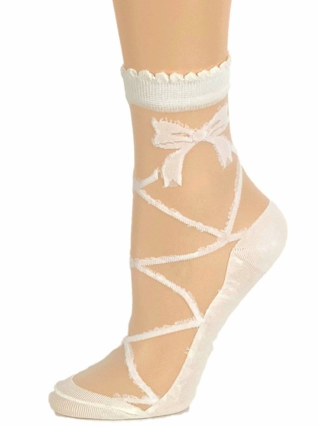 Milky White Bow Sheer Socks - Global Trendz Fashion®