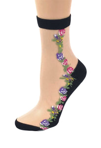 Purple Red Roses Sheer Socks - Global Trendz Fashion®