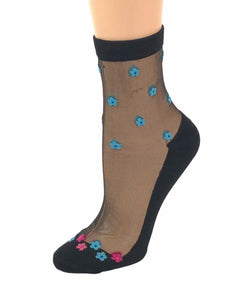 Mini Pink/Blue Flowers Sheer Socks - Global Trendz Fashion®