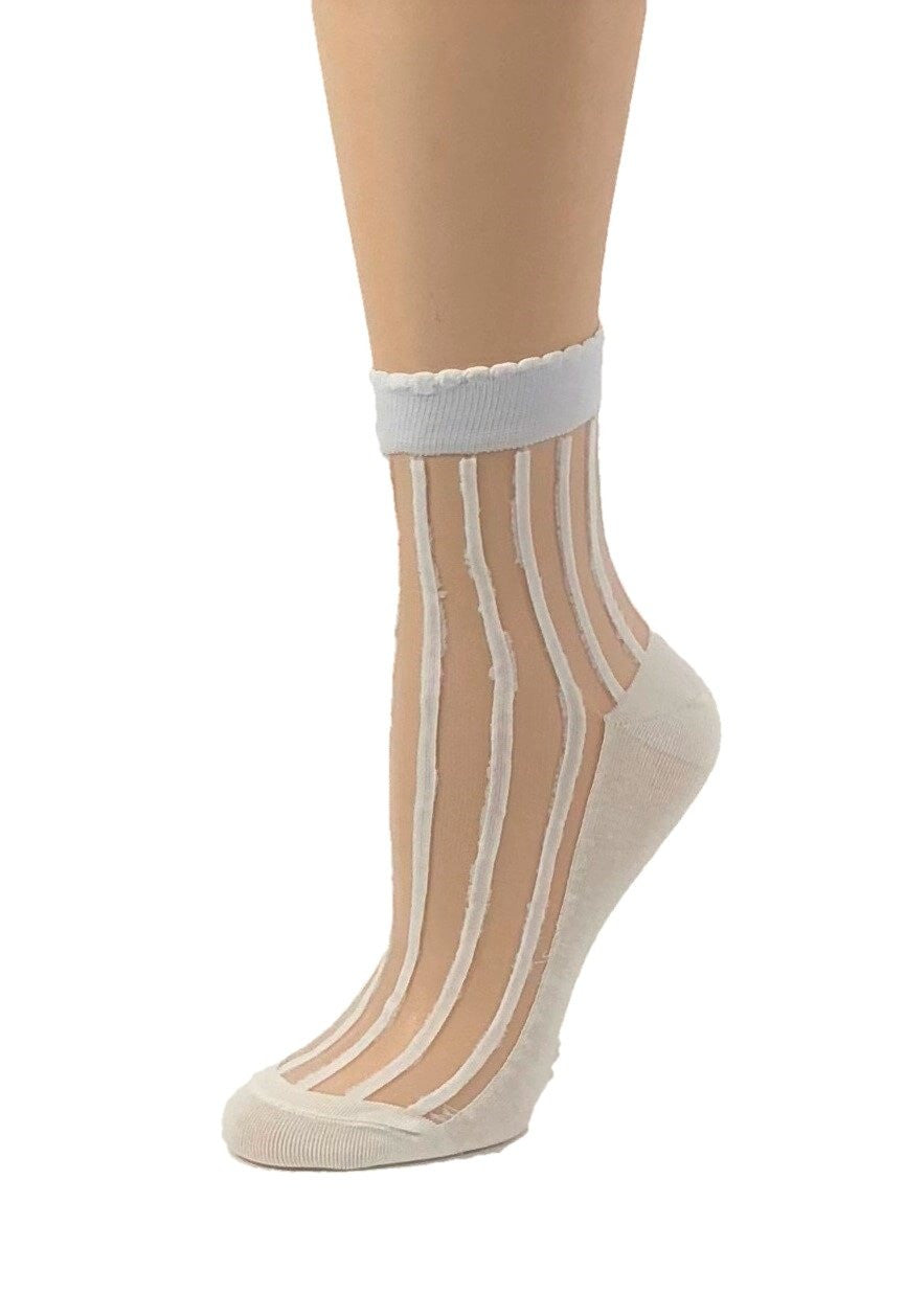 Striped White Sheer Socks - Global Trendz Fashion®