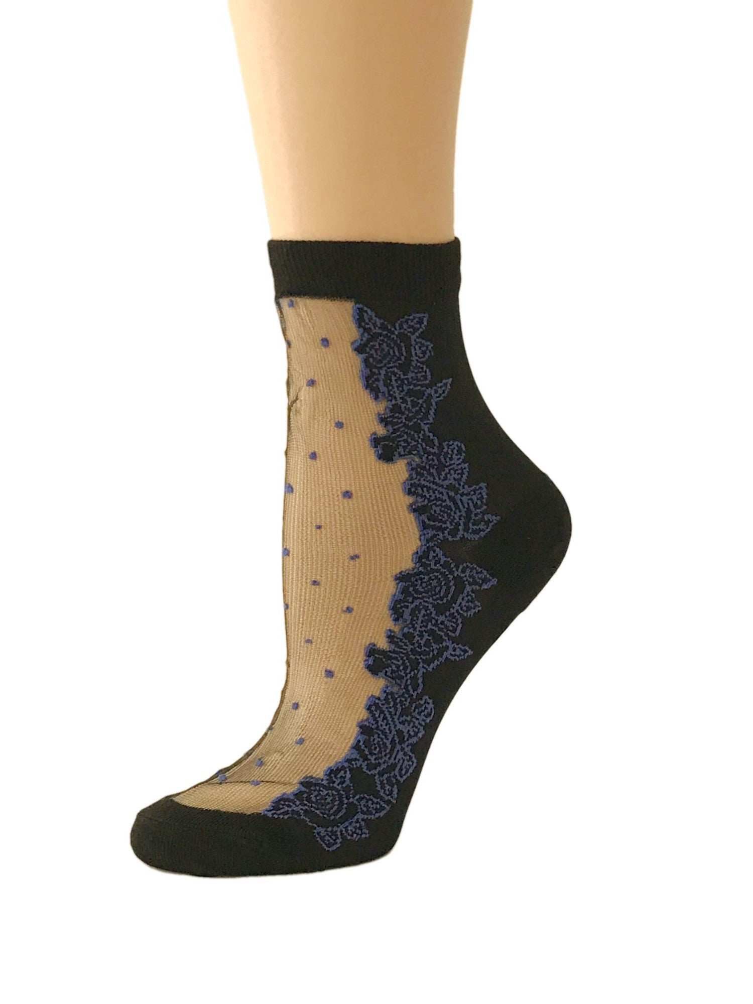 Dotted Blue Roses Sheer Socks - Global Trendz Fashion®