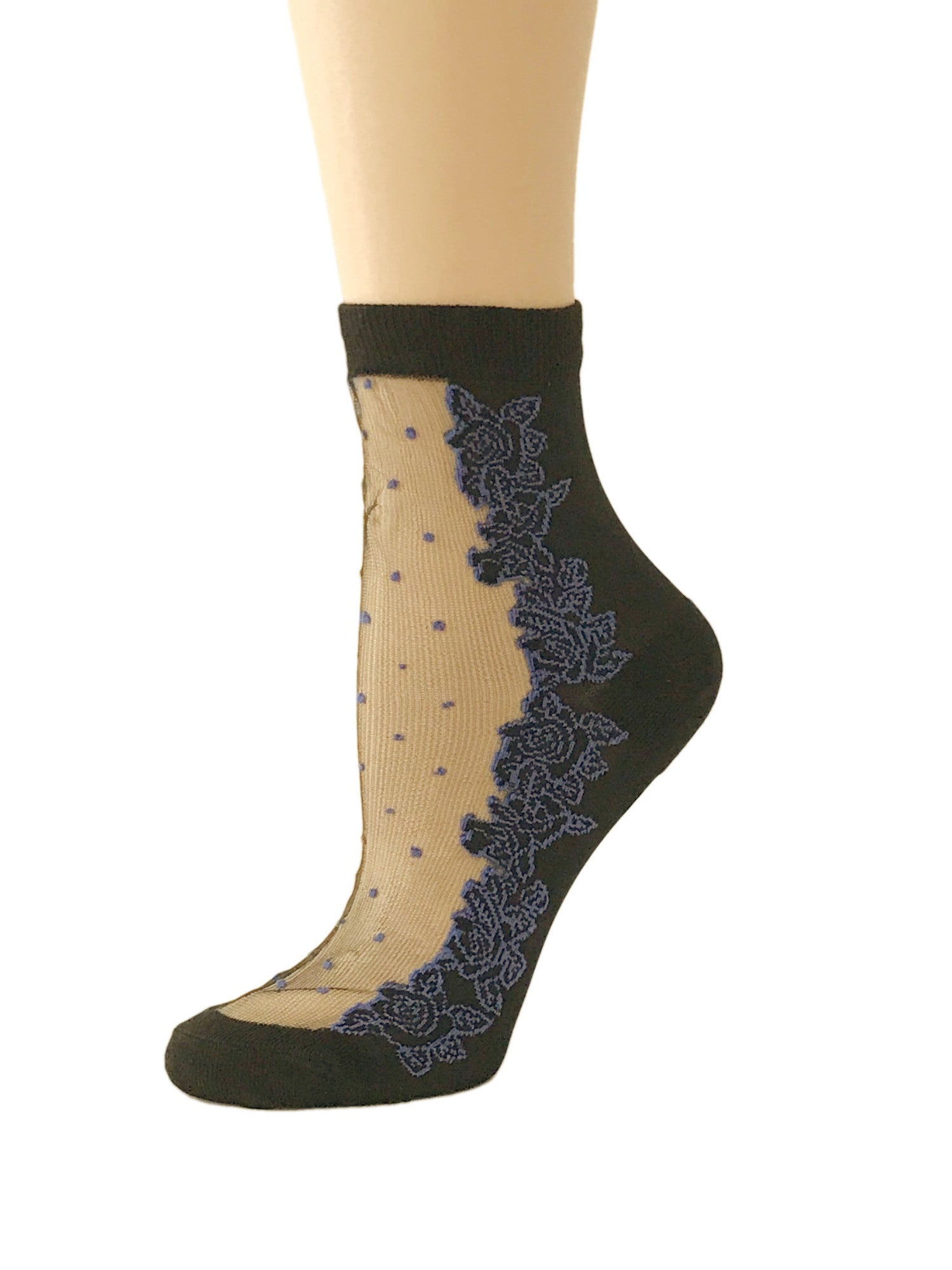 Dotted Purple Roses Sheer Socks - Global Trendz Fashion®