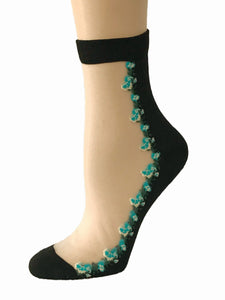 Elegant Mini Blue Flowers Sheer Socks - Global Trendz Fashion®