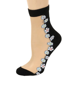 Classy White Floral Sheer Socks - Global Trendz Fashion®
