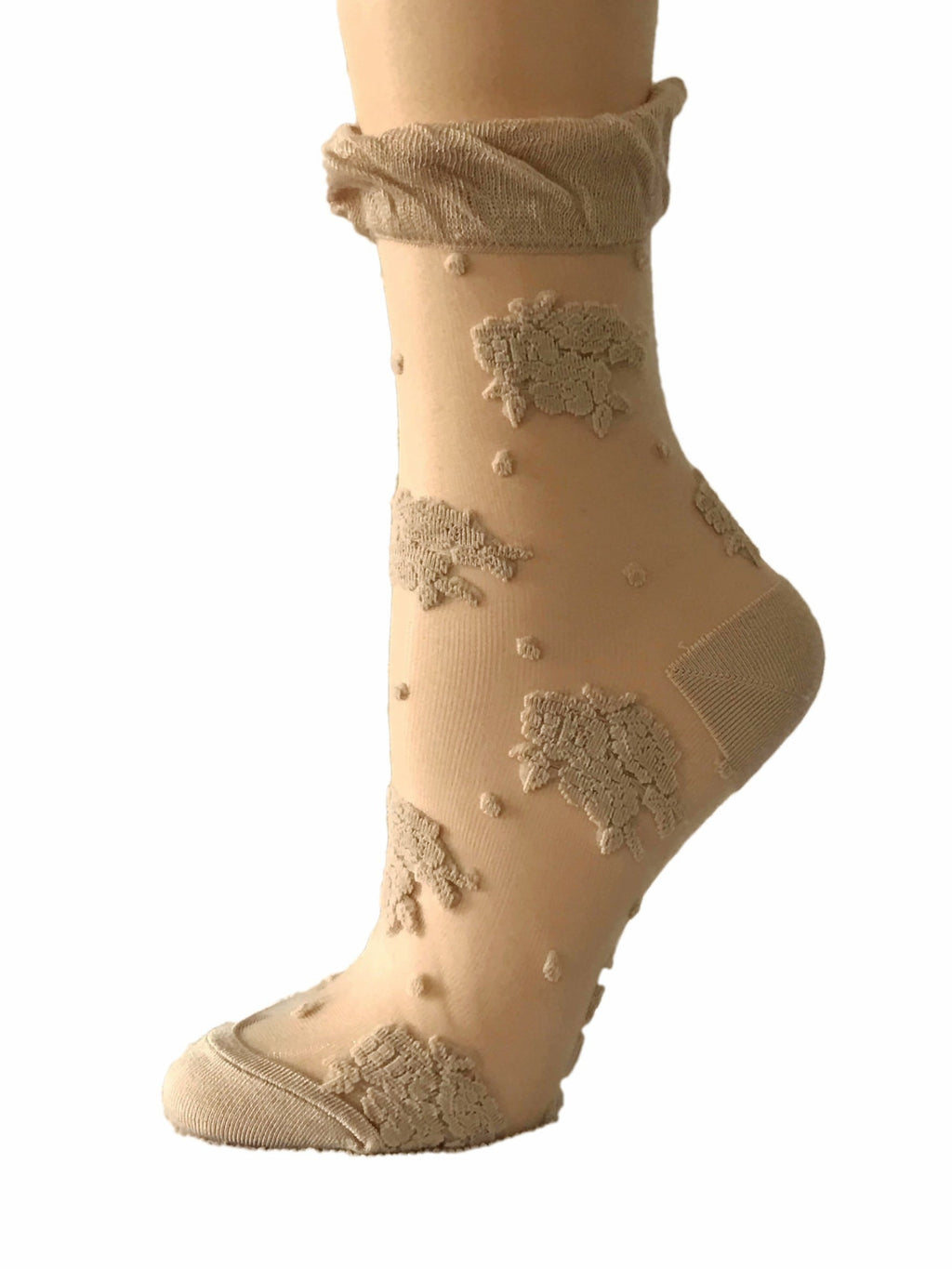 Posh Beige Sheer Socks - Global Trendz Fashion®