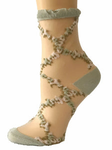 Stunning Brown/White Flowers Sheer Socks - Global Trendz Fashion®