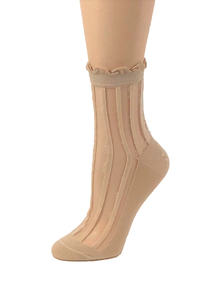 Beige Striped Sheer Socks - Global Trendz Fashion®