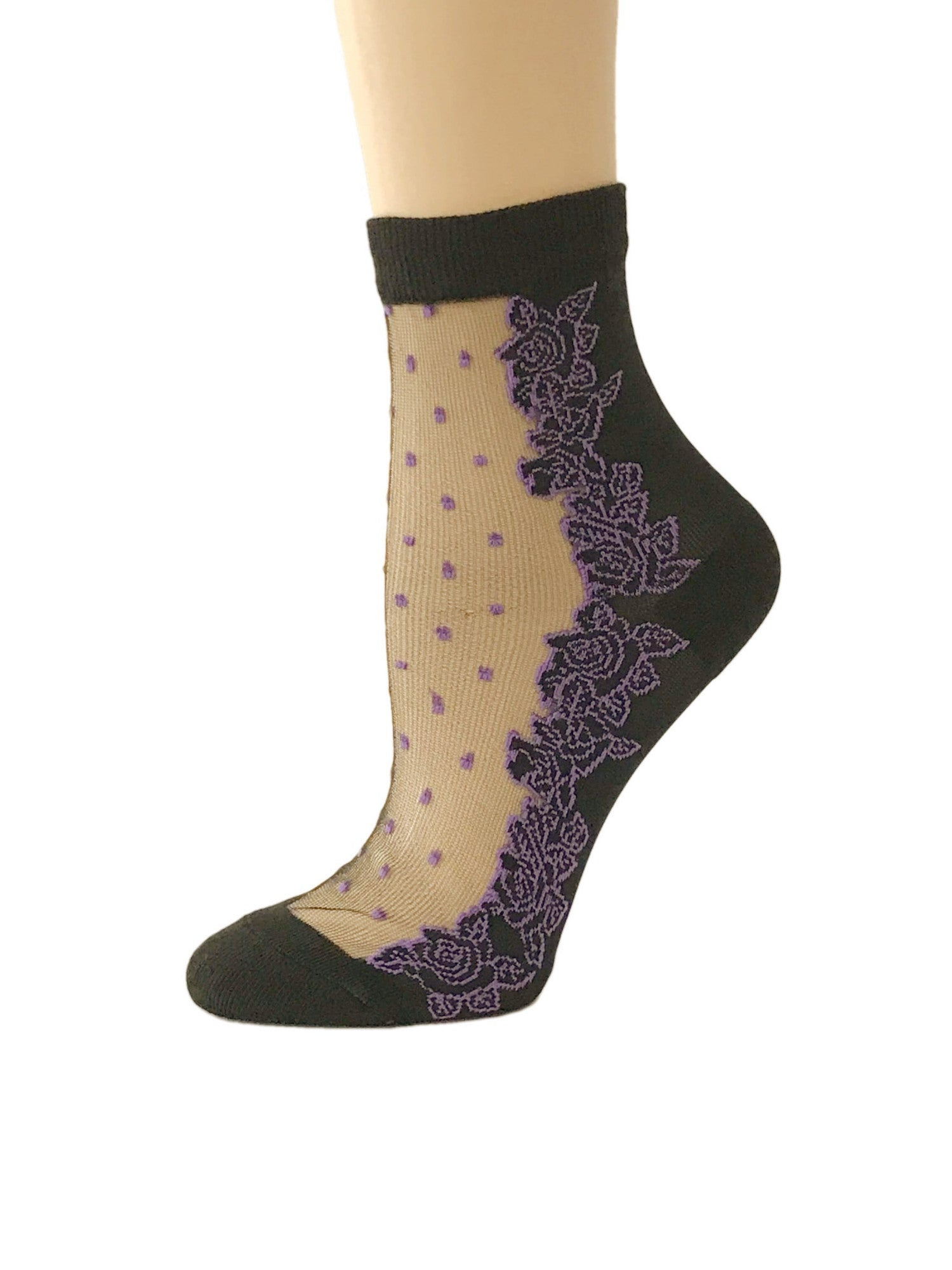 Dotted Purple Flowers Sheer Socks - Global Trendz Fashion®