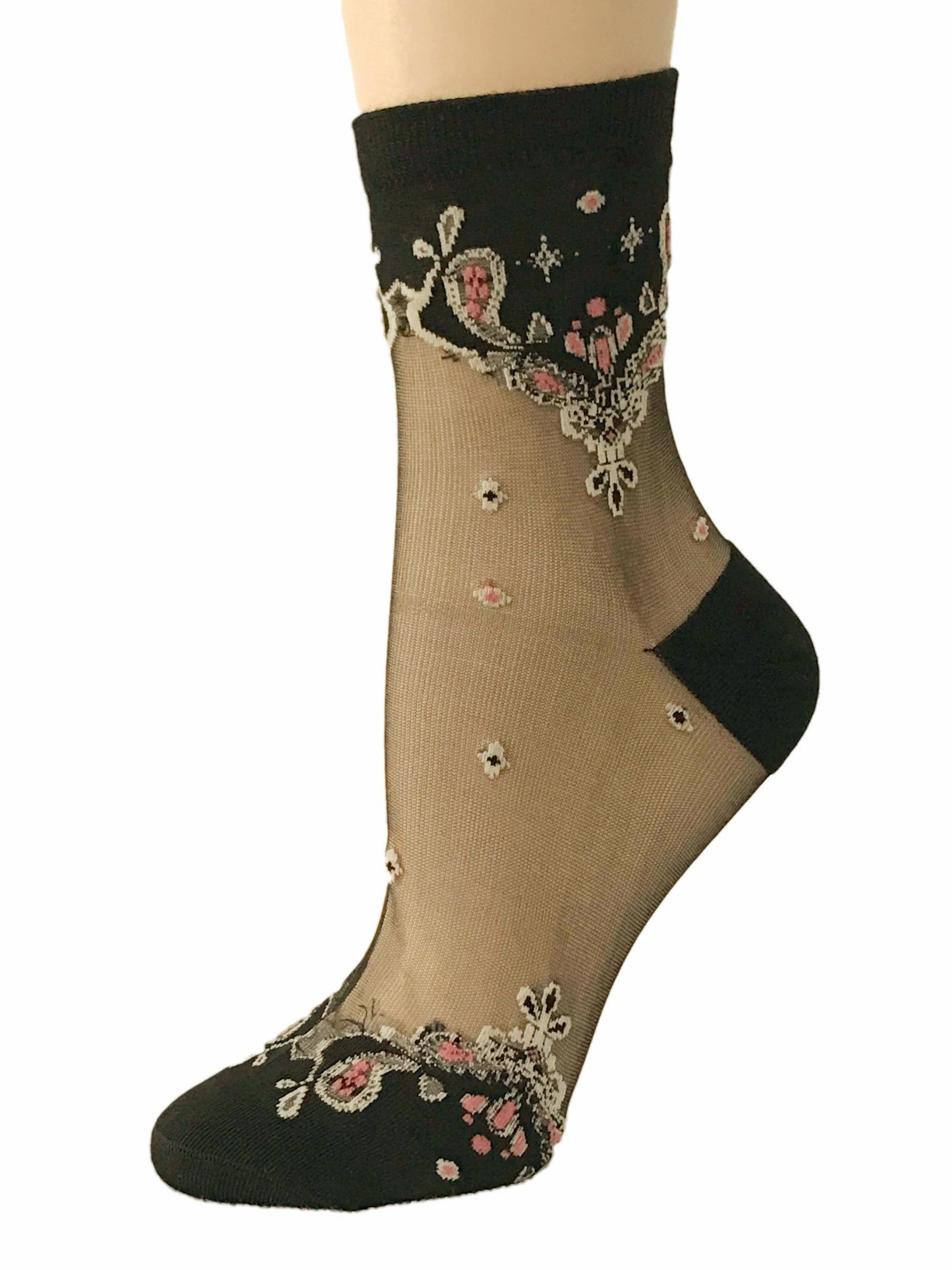 Elegant Pink Pattern Sheer Socks - Global Trendz Fashion®