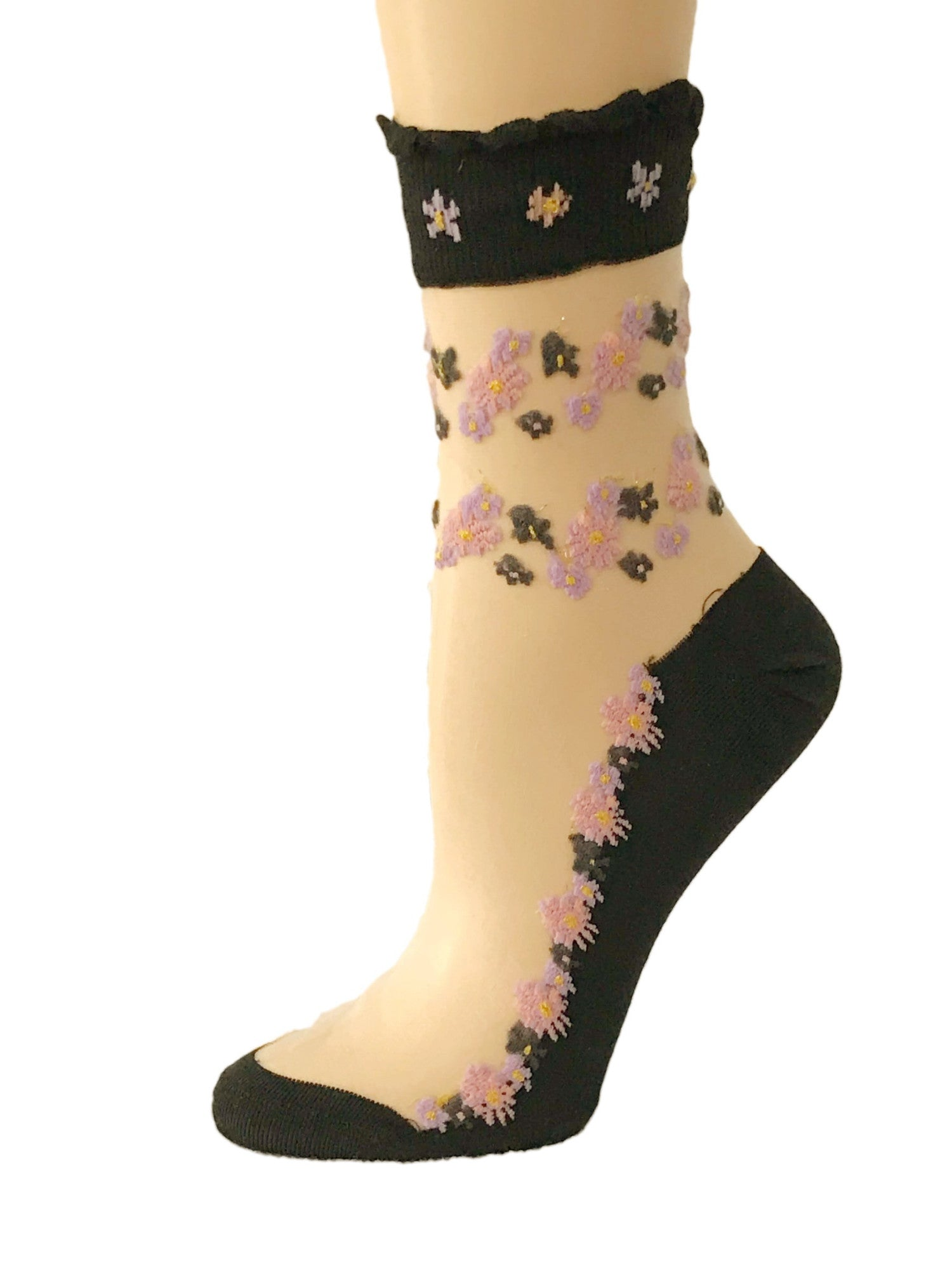 Charming Mini Pink/Brown Floral Sheer Socks - Global Trendz Fashion®