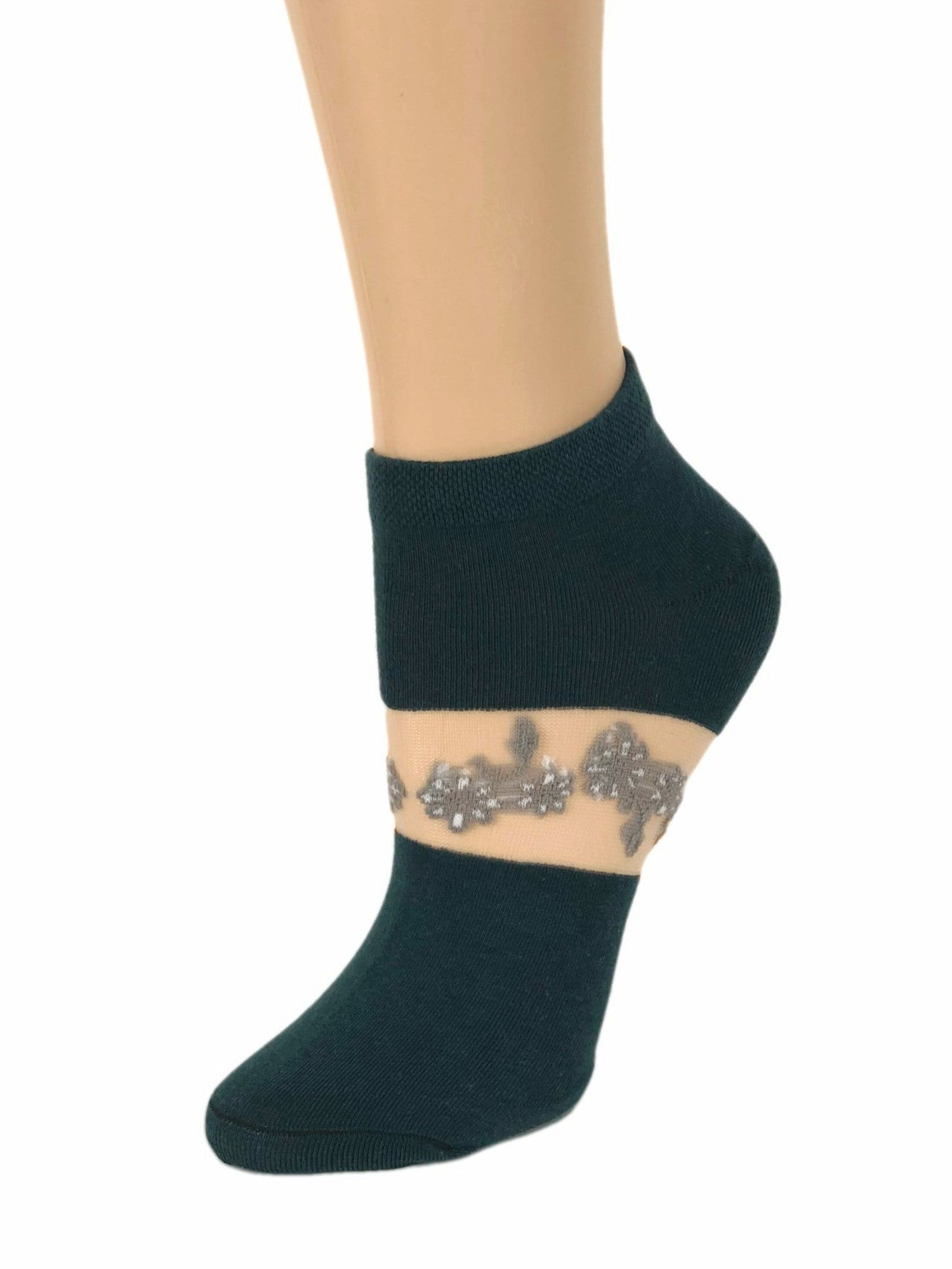 One-Stripped Grey Flower Ankle Sheer Socks-Global Trendz Fashion®