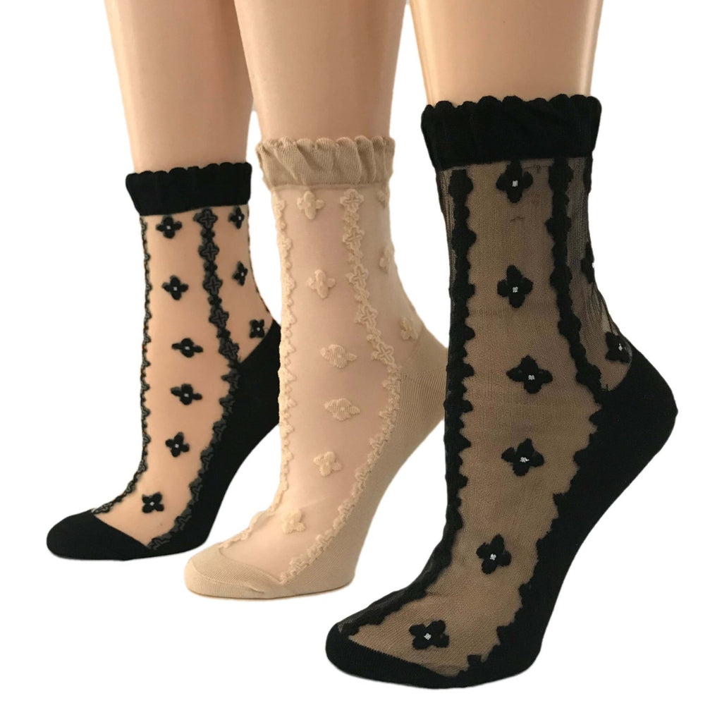 Black Diamond Patterned Sheer Socks (Pack of 3 Pairs) - Global Trendz Fashion®