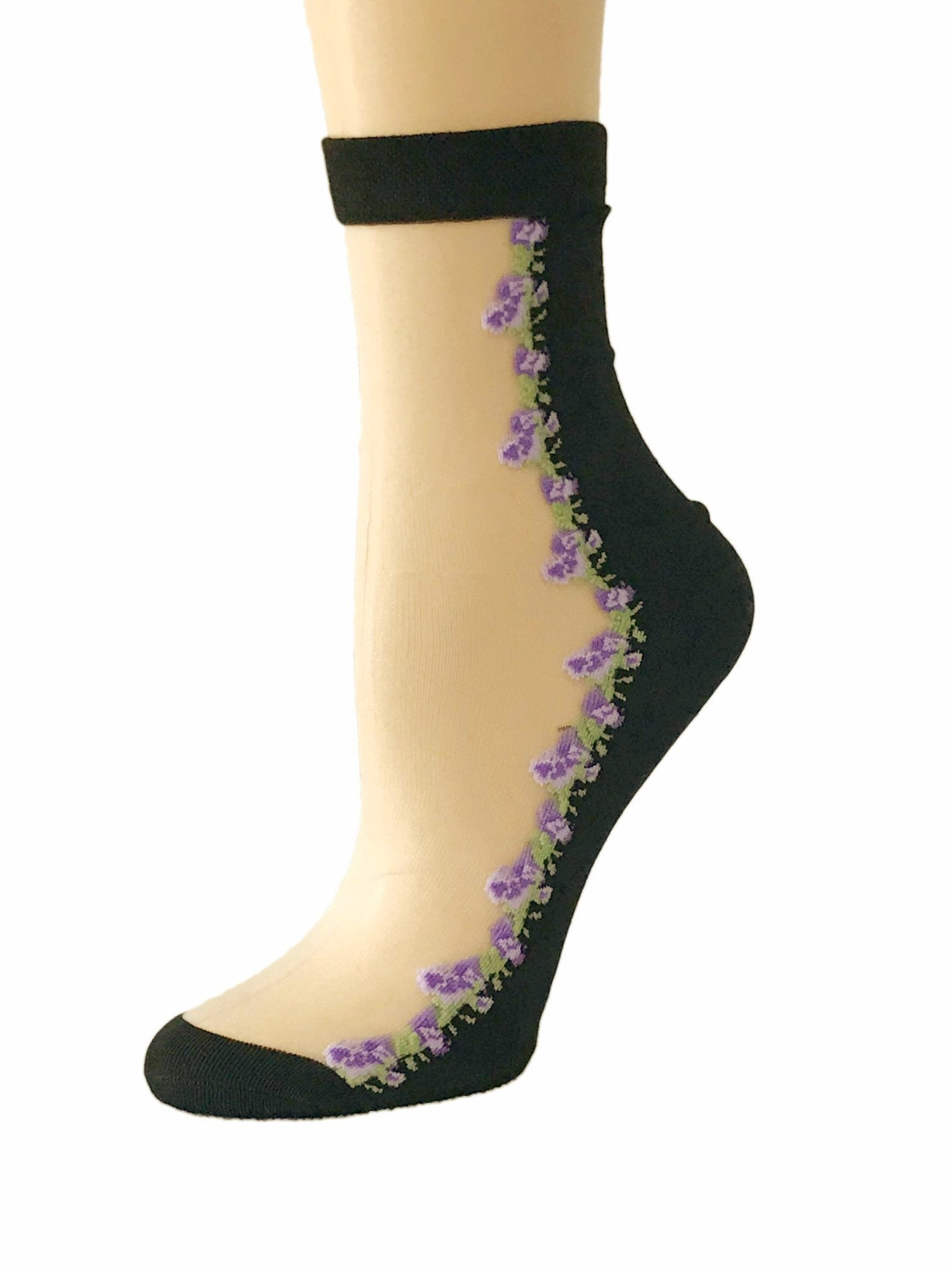 Cute Purple Flower Sheer Socks - Global Trendz Fashion®