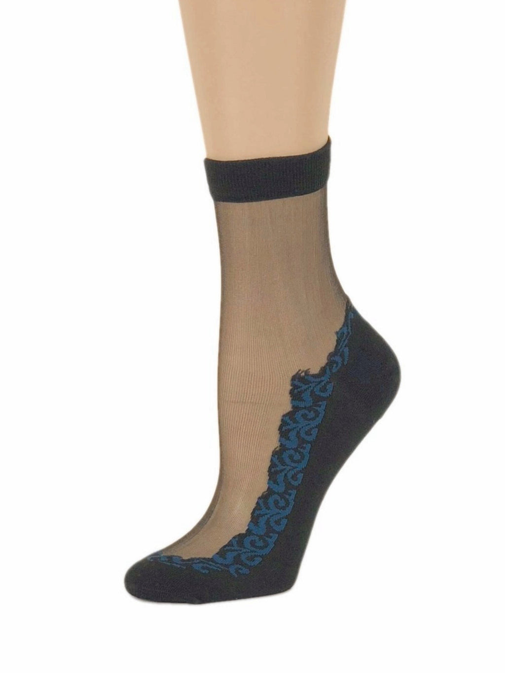 Sequence Blue Leaf Sheer Socks - Global Trendz Fashion®