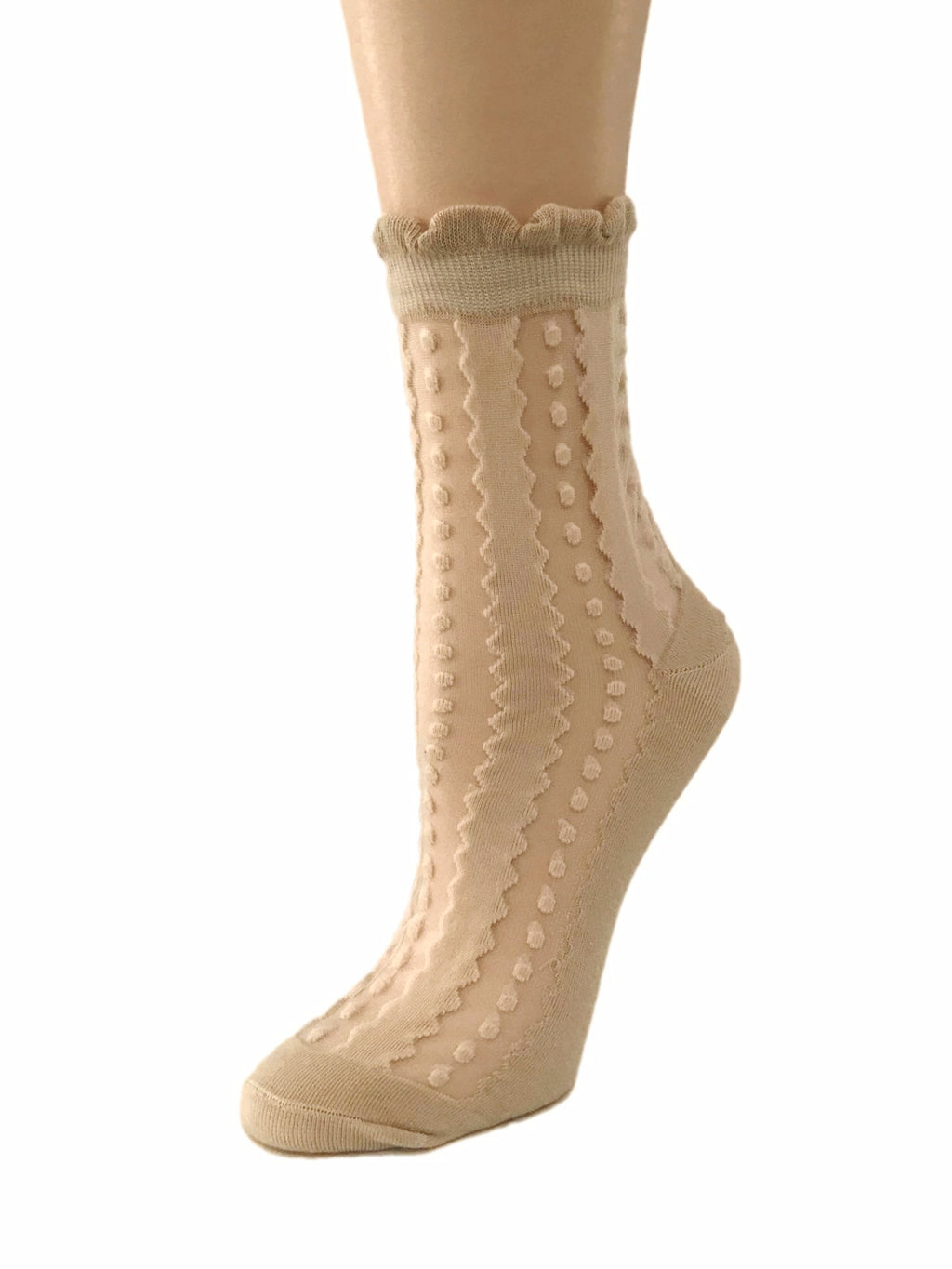 Dotty Beige Sheer Socks - Global Trendz Fashion®