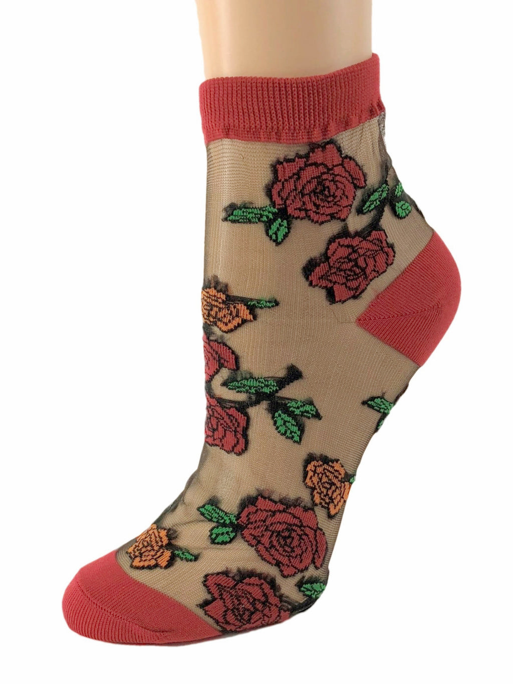 Sharp Red Roses Sheer Socks - Global Trendz Fashion®