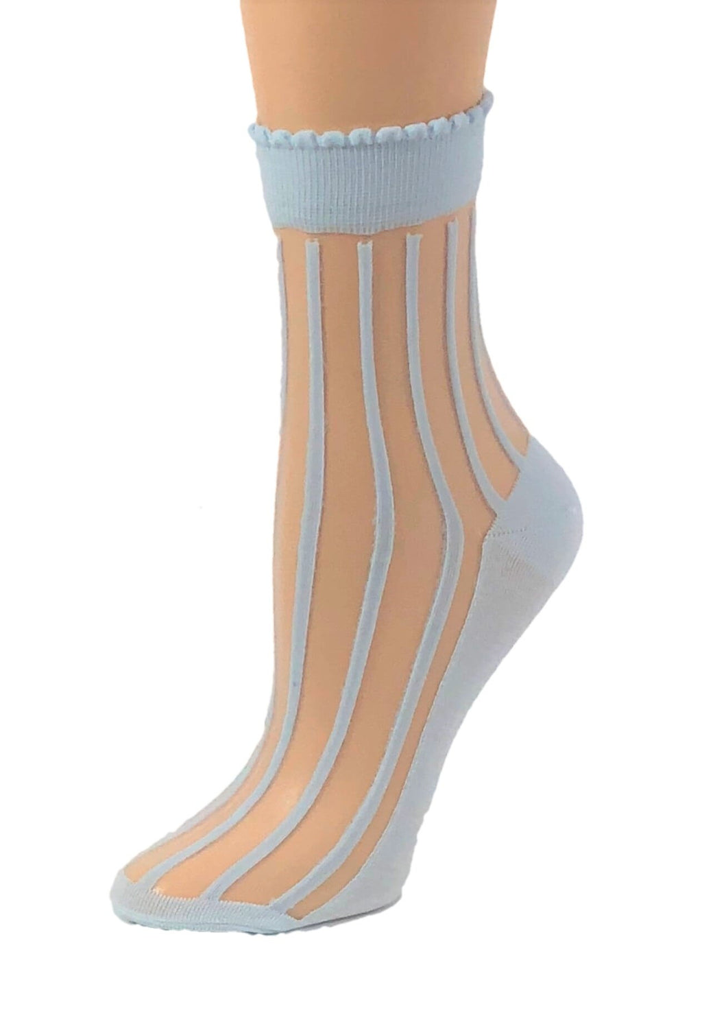 Aqua Striped Sheer Socks - Global Trendz Fashion®