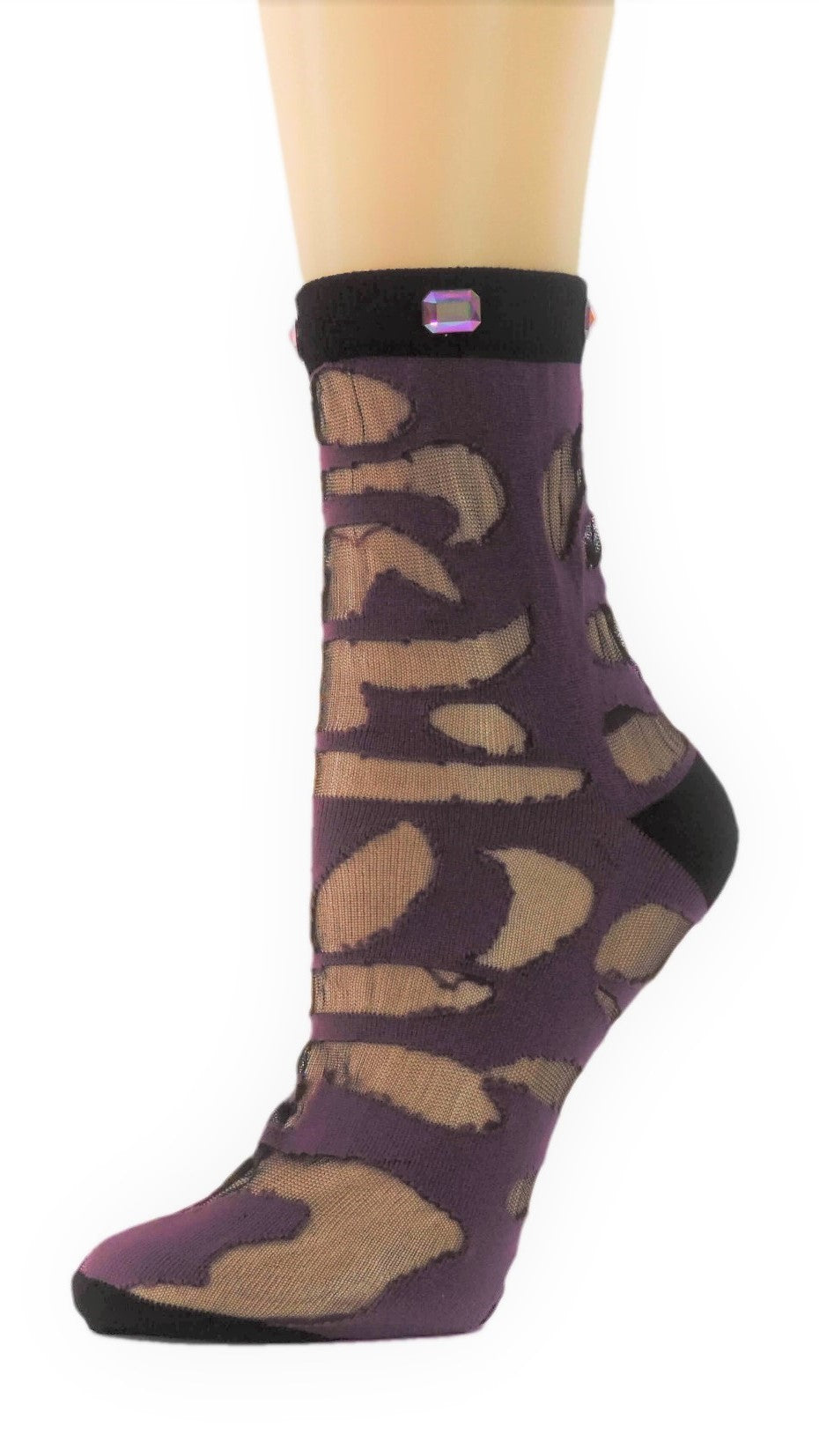 Trendy Custom Sheer Socks with crystals - Global Trendz Fashion®