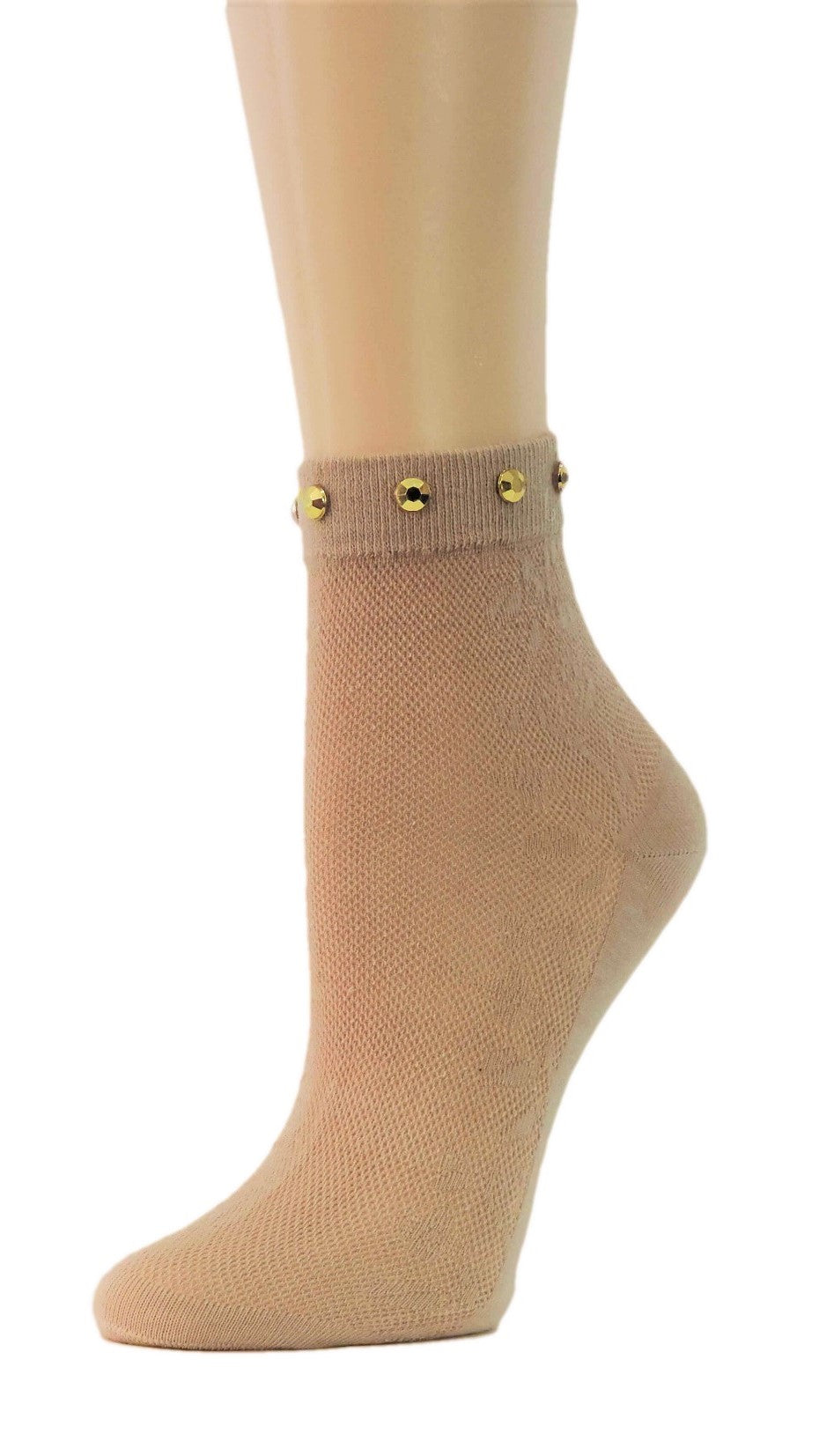 Beige Custom Sheer Socks with beads - Global Trendz Fashion®