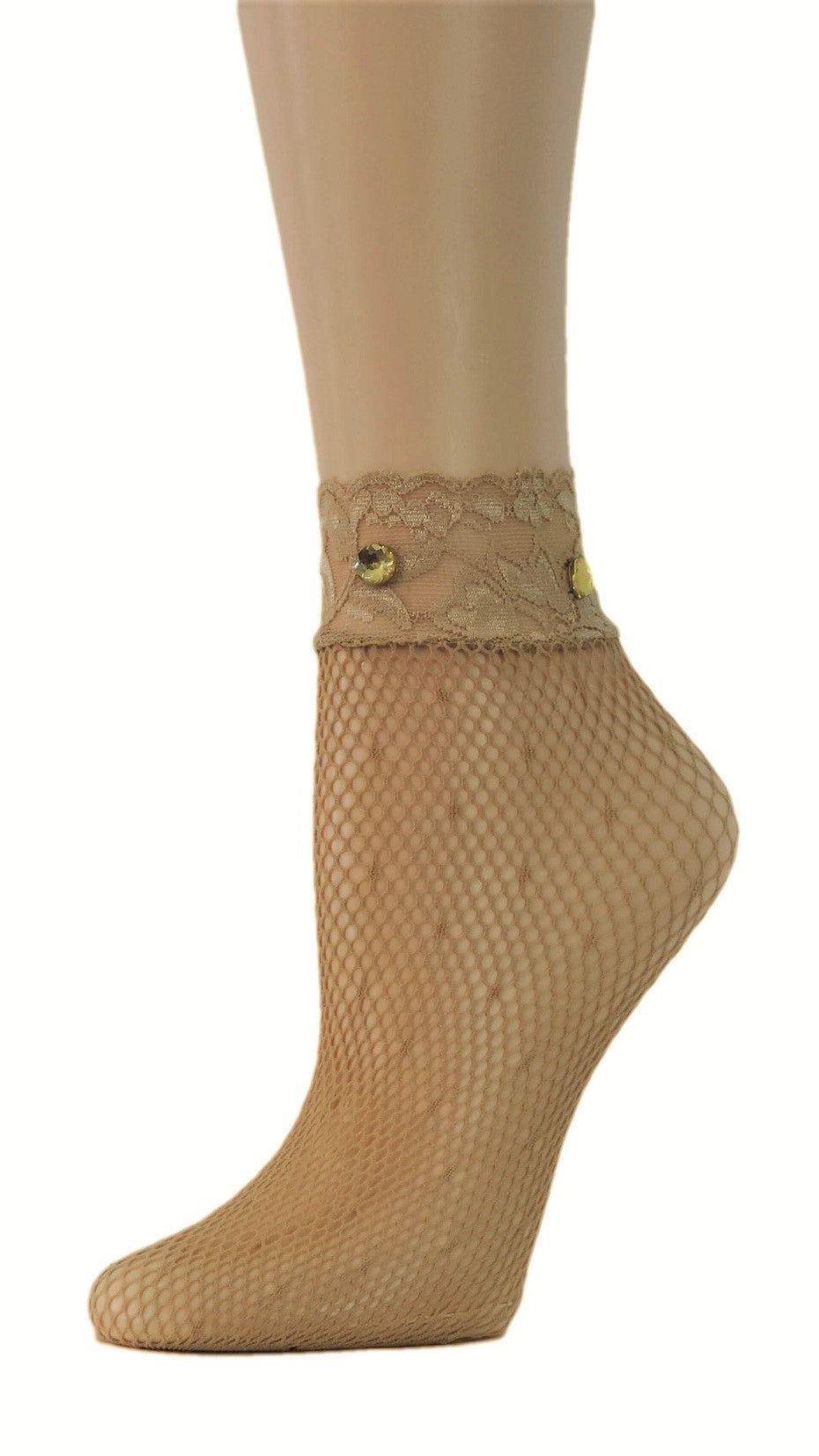 Beige Lace Custom Fishnet Socks with beads - Global Trendz Fashion®