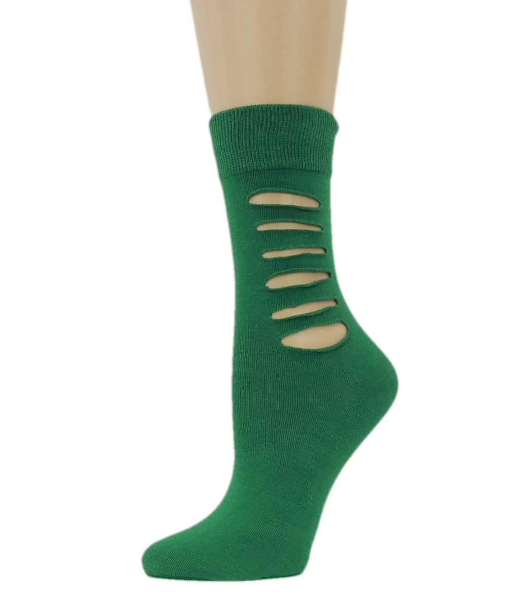 Ripped Leaf Green Cotton Socks