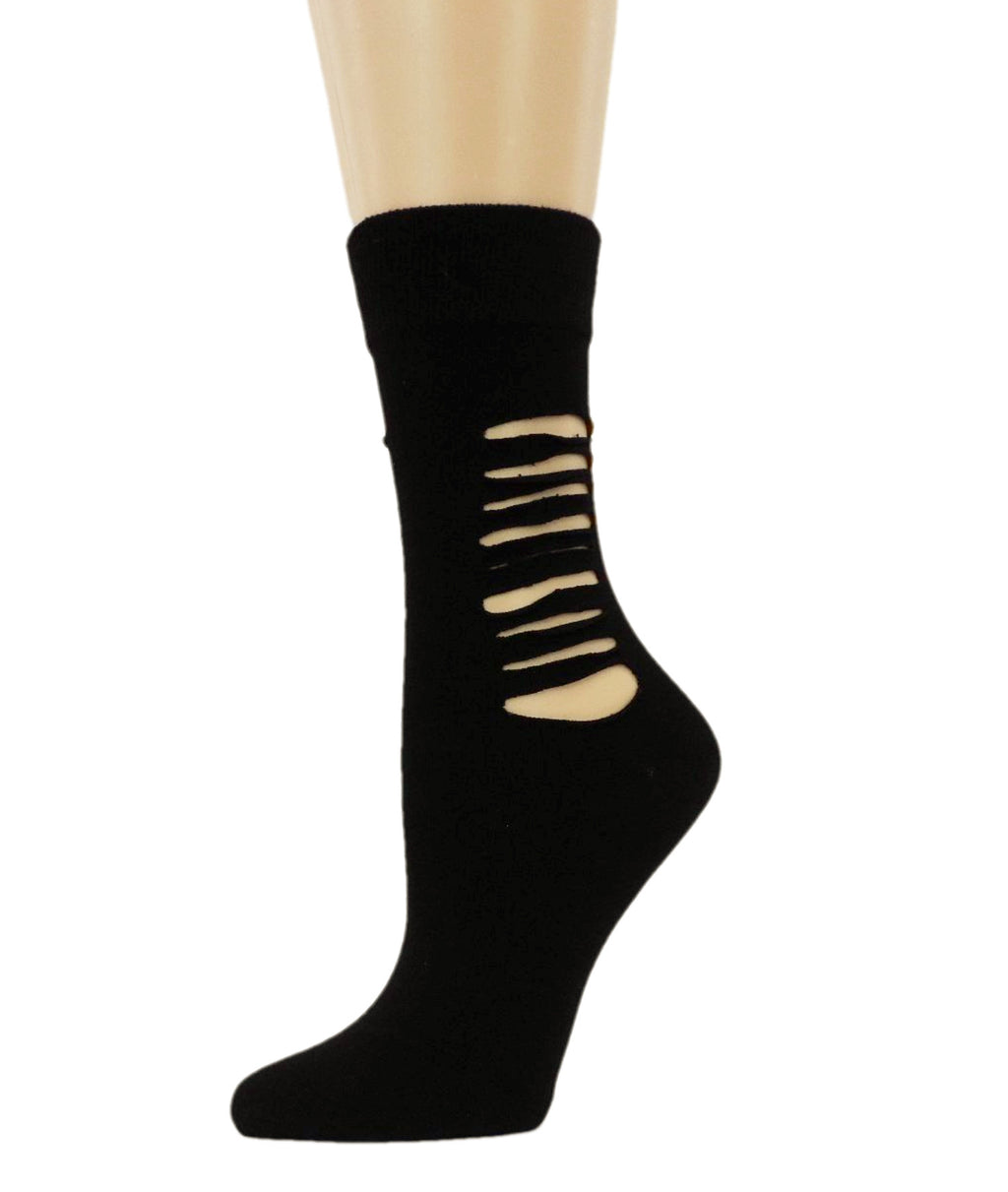 Ripped Midnight Black Cotton Socks