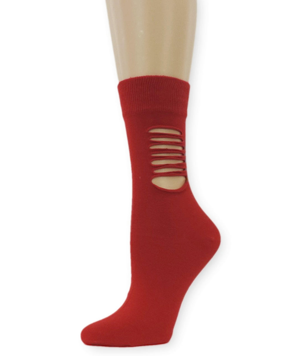 Ripped Bright Red Cotton Socks