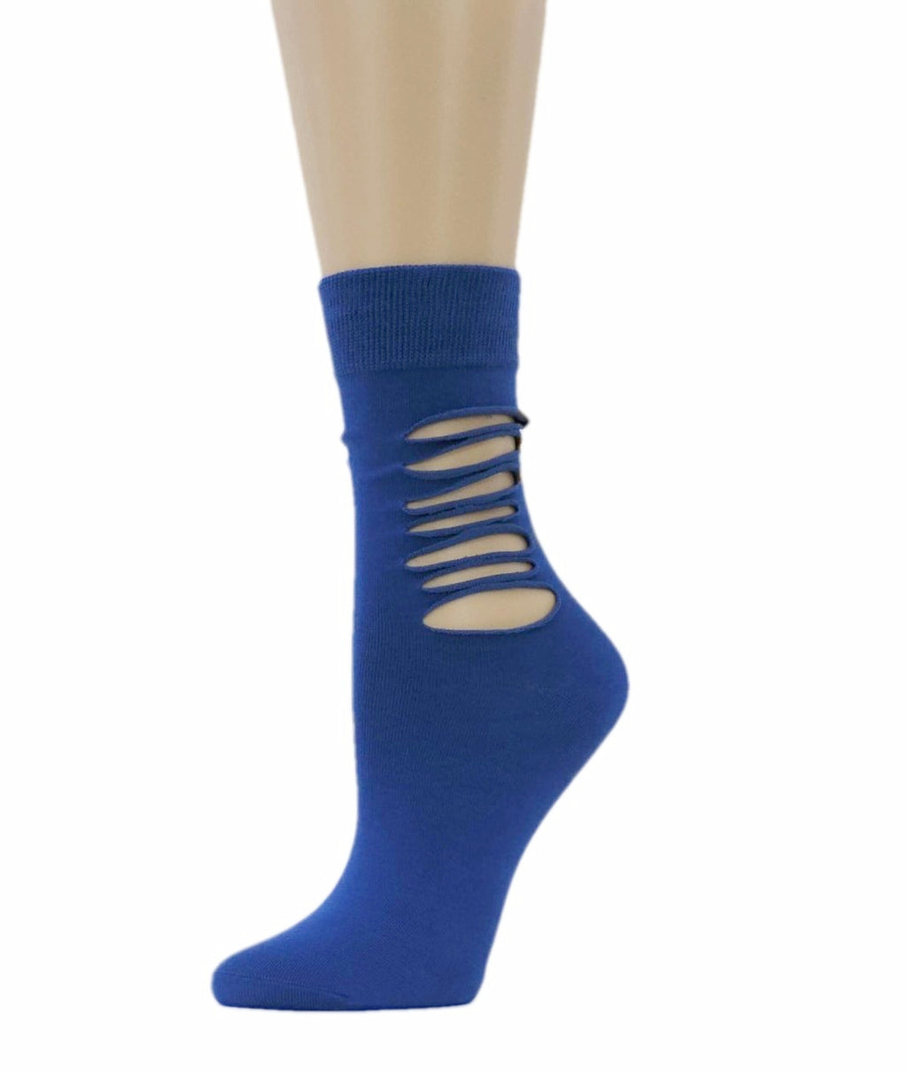 Ripped Royal Blue Cotton Socks - Global Trendz Fashion®