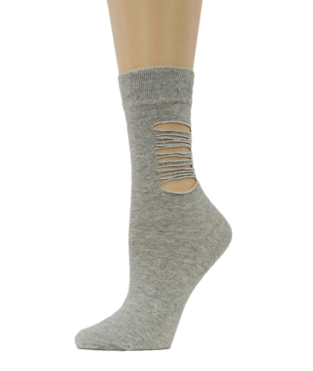 Ripped Grey Cotton Socks