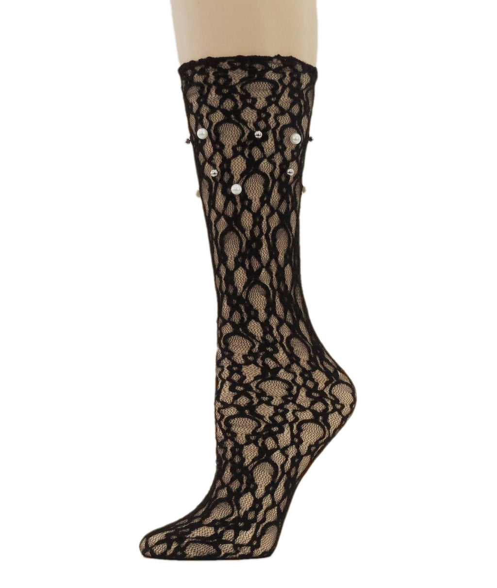 Elegant Black Mesh Socks with Pearls - Global Trendz Fashion®