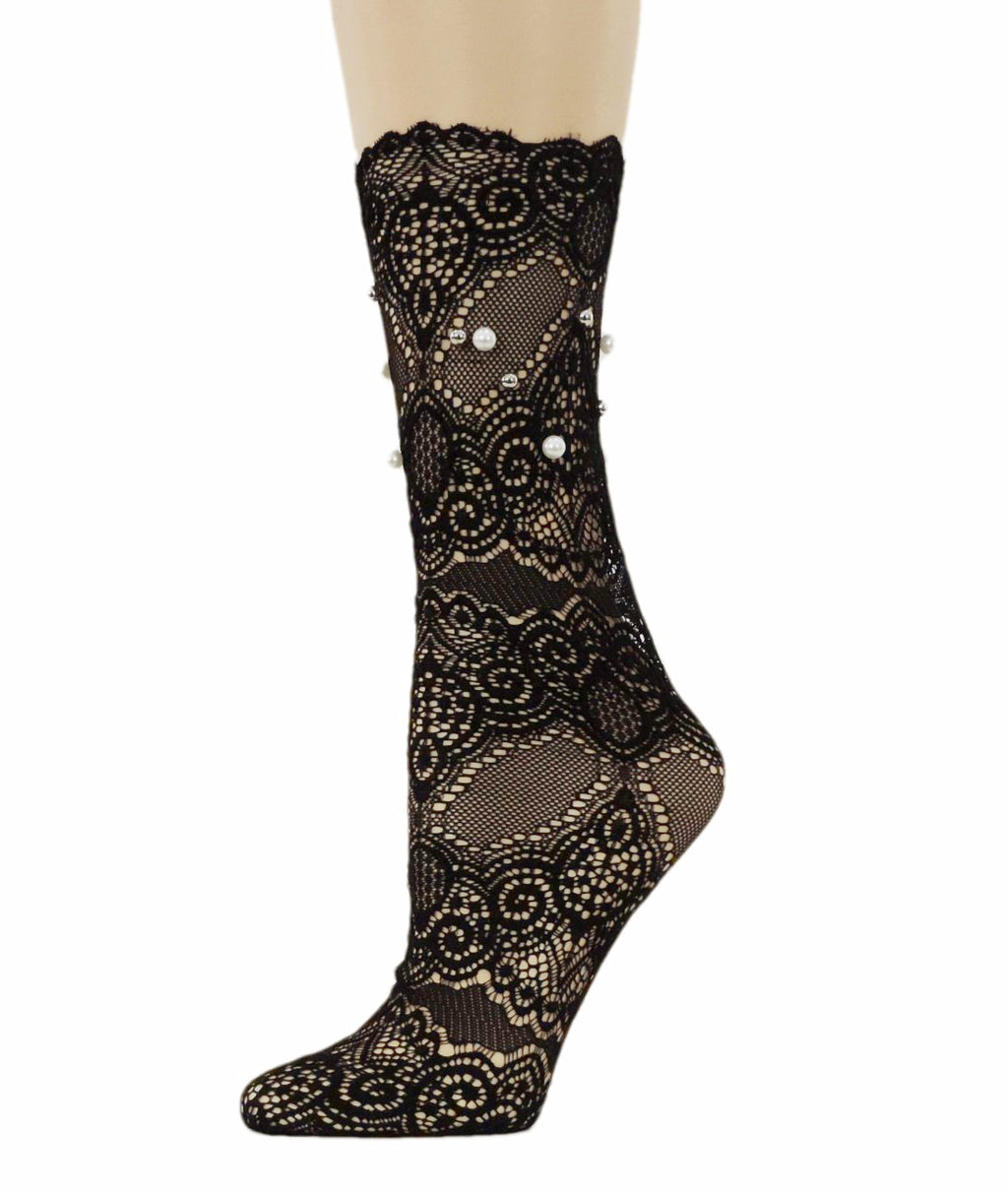 Grace Black Mesh Socks with Pearls - Global Trendz Fashion®