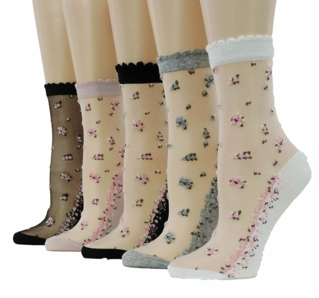 Mini Flowers Sheer Socks (Pack of 5 Pairs) - Global Trendz Fashion®