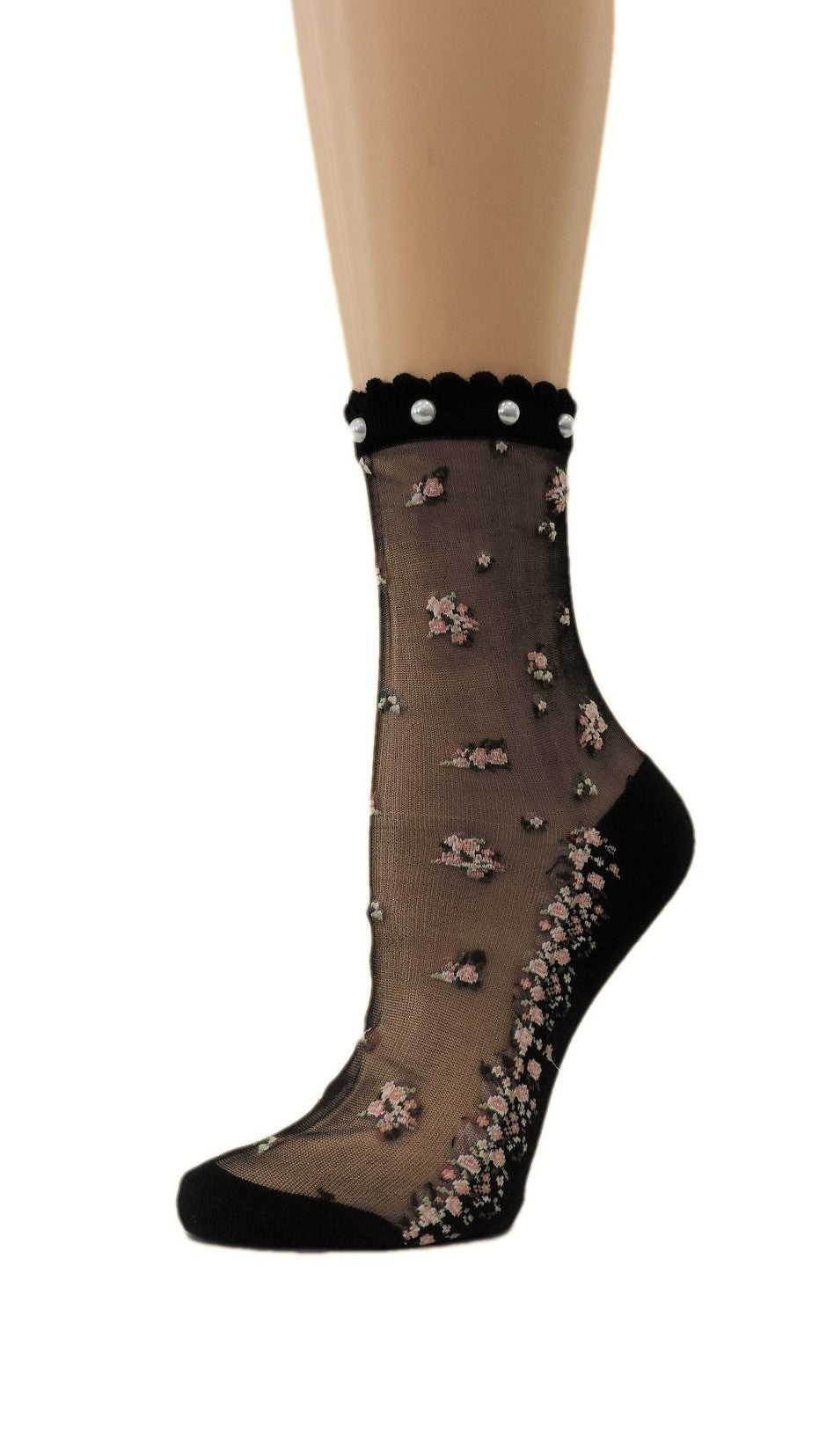 Mini Pink Floral Custom Sheer Socks with beads - Global Trendz Fashion®