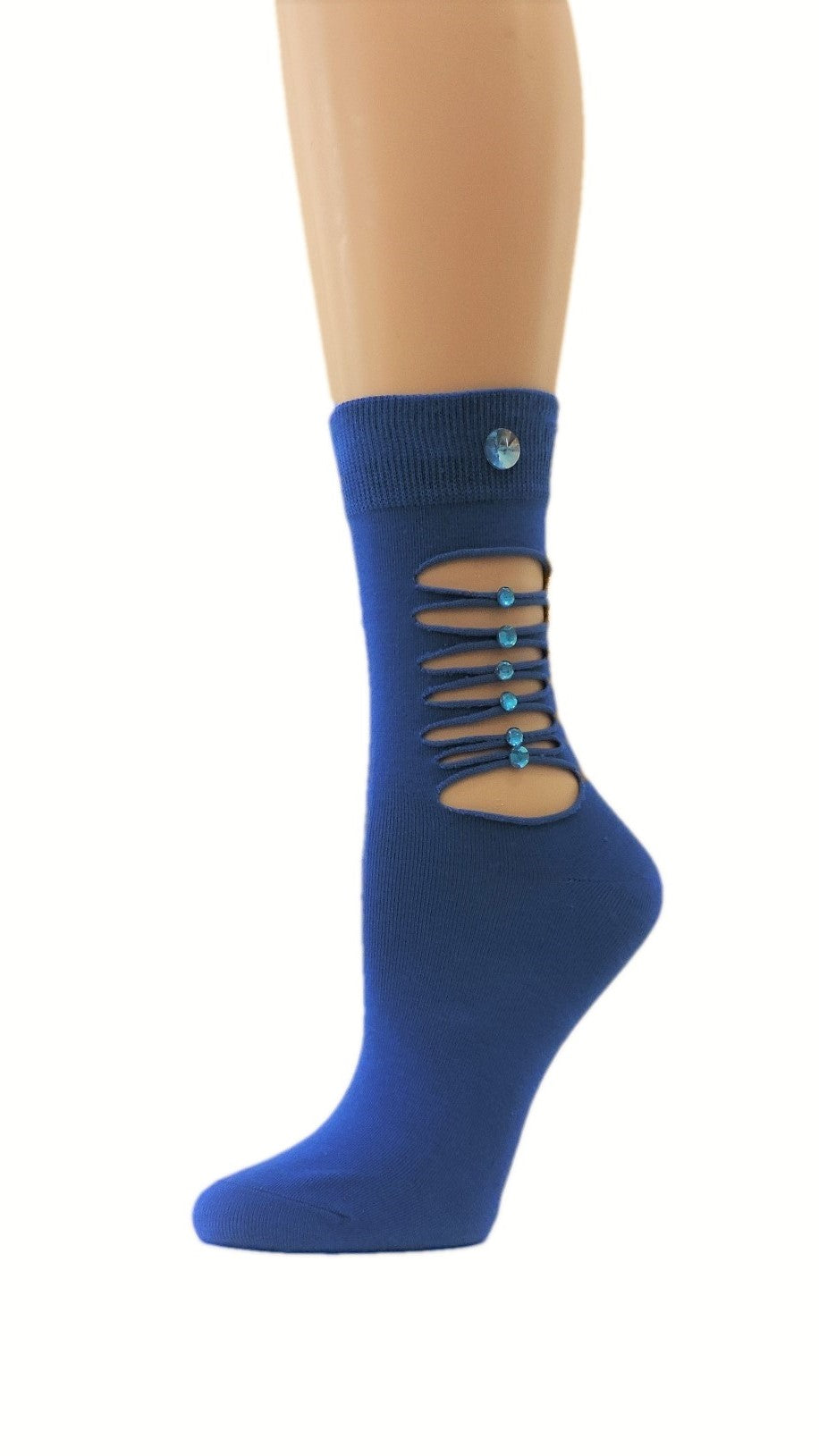 Ripped Blue Custom Fashion Socks with crystals - Global Trendz Fashion®