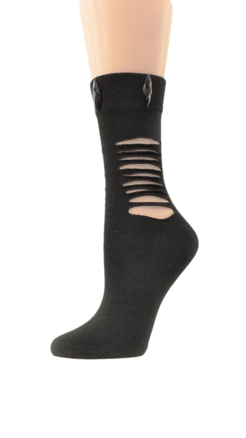 Ripped Midnight Black Custom Fashion Socks with crystal - Global Trendz Fashion®