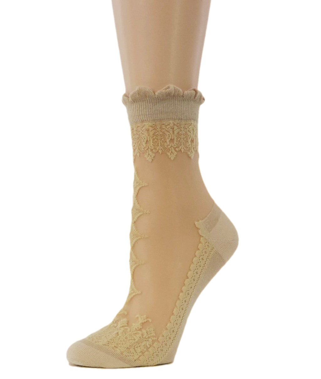 Elegant Beige Sheer Socks - Global Trendz Fashion®