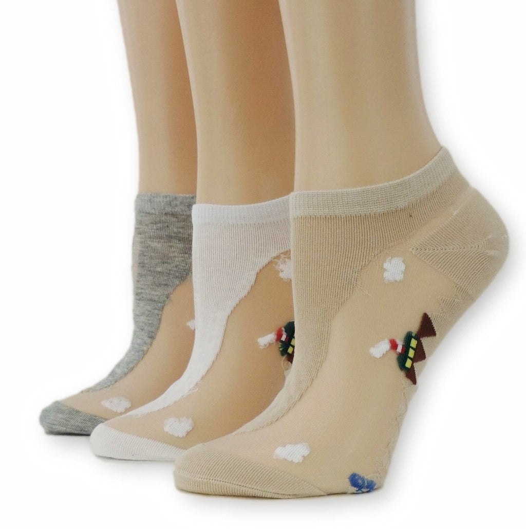 Pretty Ankle Sheer Socks (Pack of 3 Pairs) - Global Trendz Fashion®