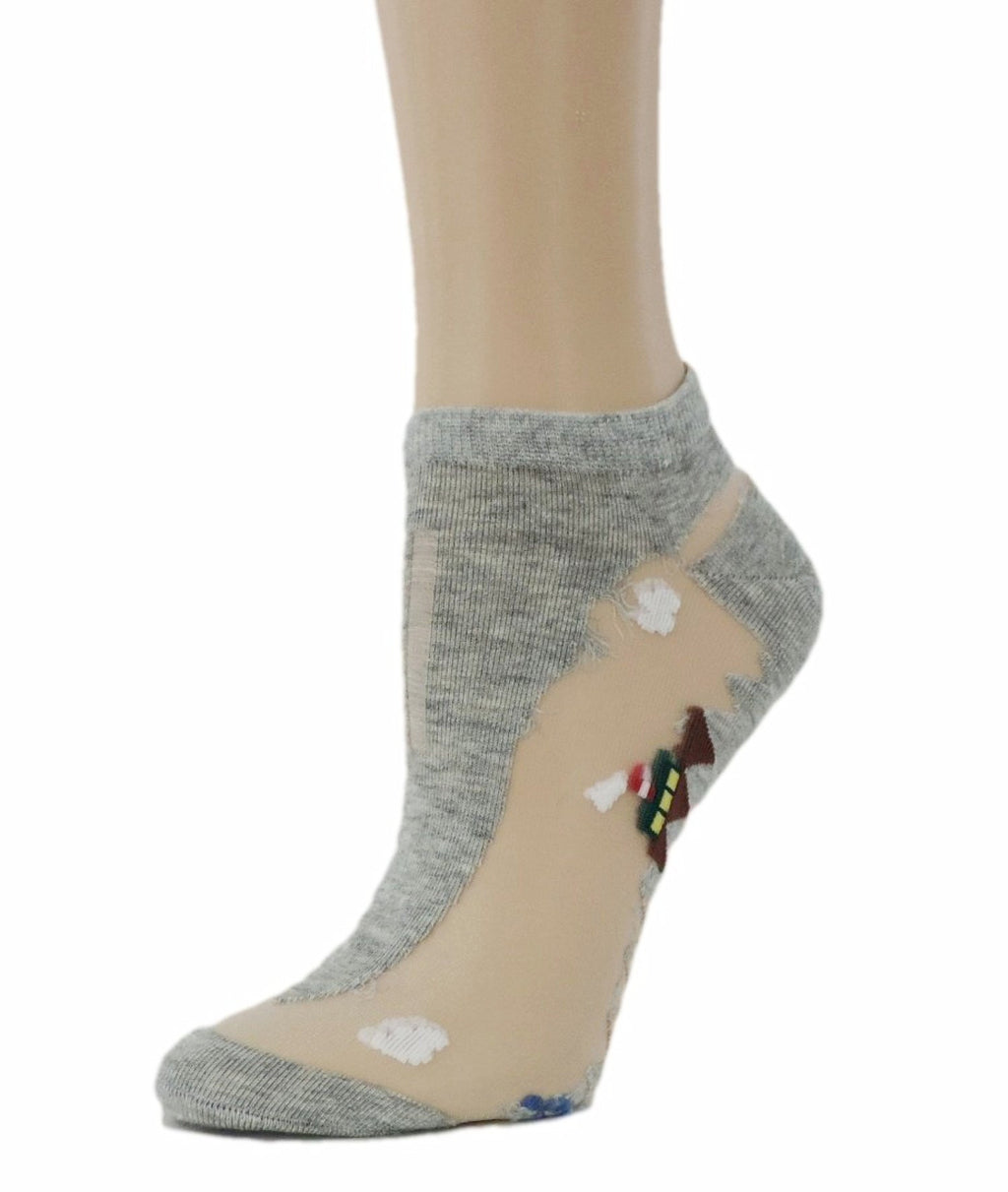 Pretty Grey Ankle Sheer Socks - Global Trendz Fashion®