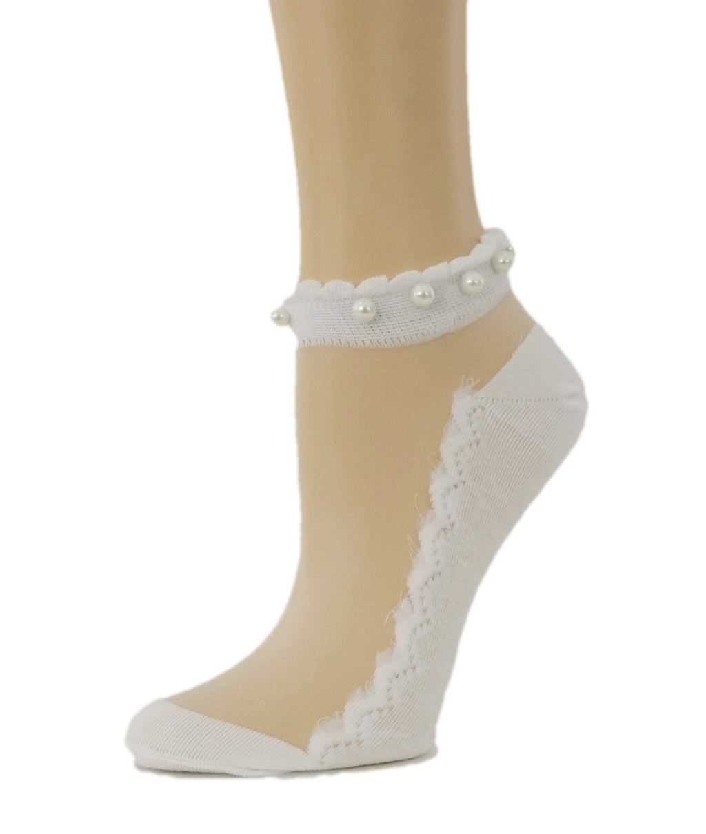 Pearled White Ankle Sheer Socks - Global Trendz Fashion®