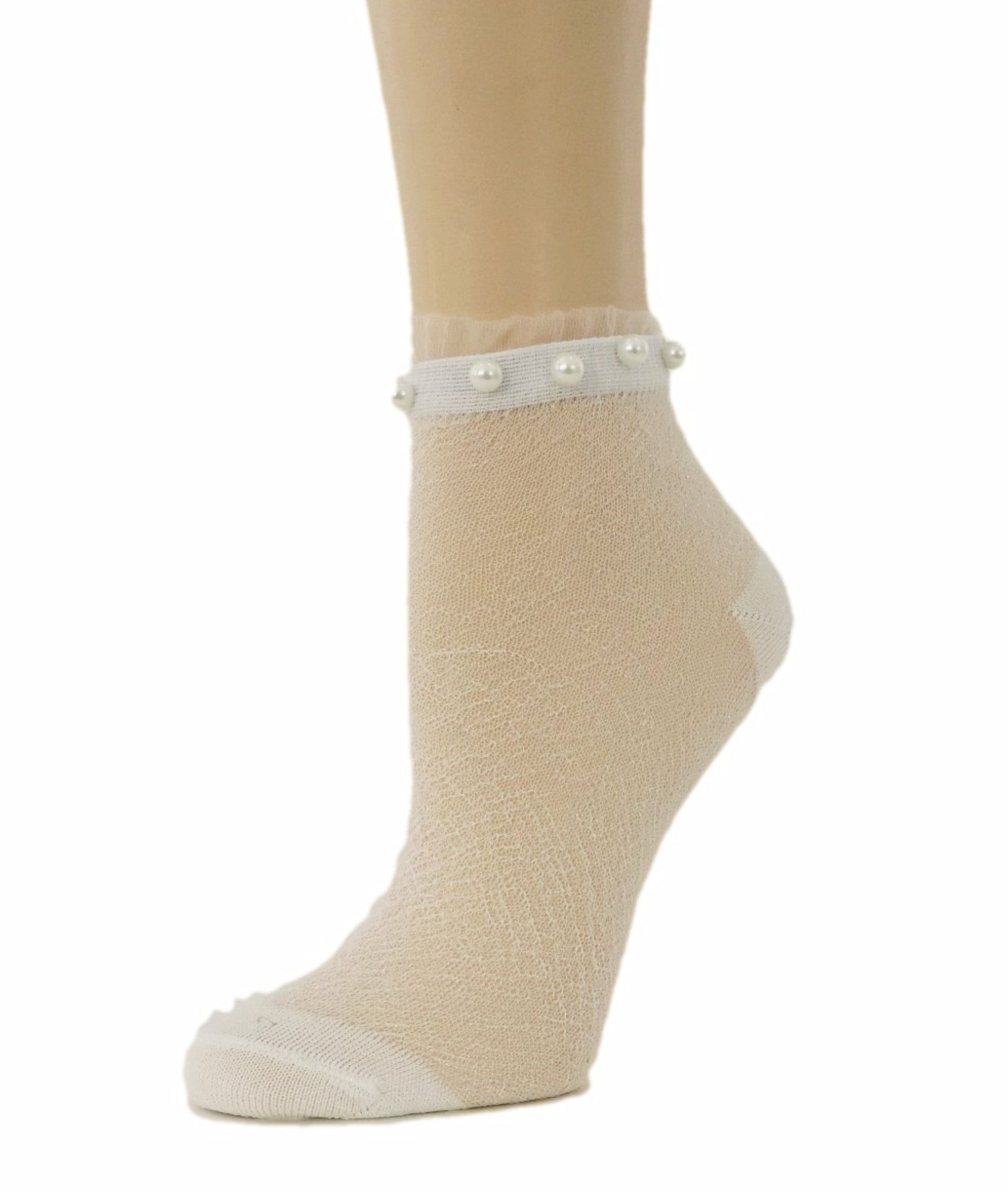 Stunning Pearls White Glitter Socks - Global Trendz Fashion®
