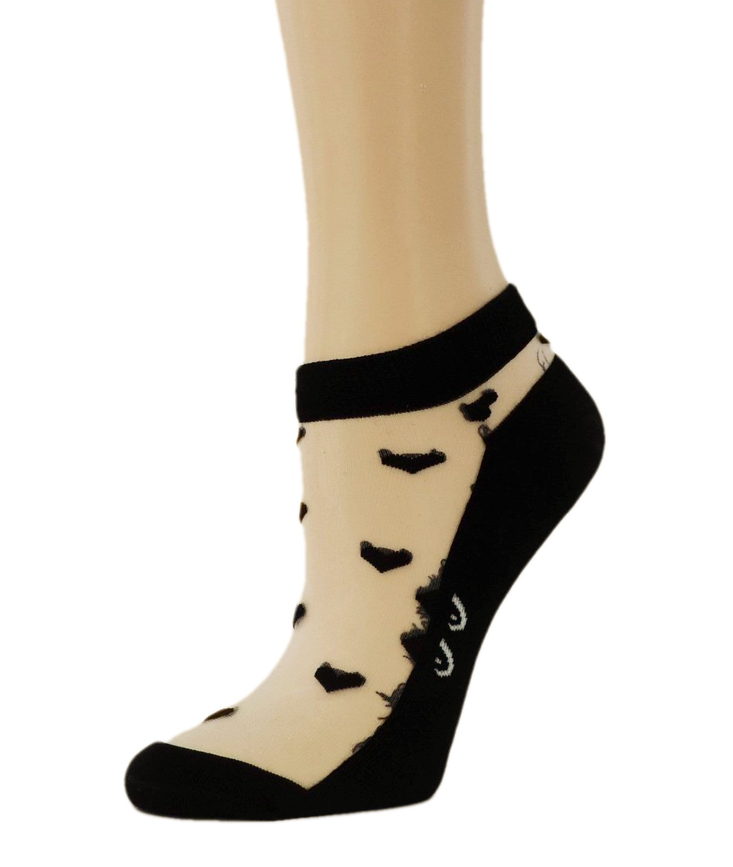 Cat Eyes Black Ankle Sheer Socks - Global Trendz Fashion®