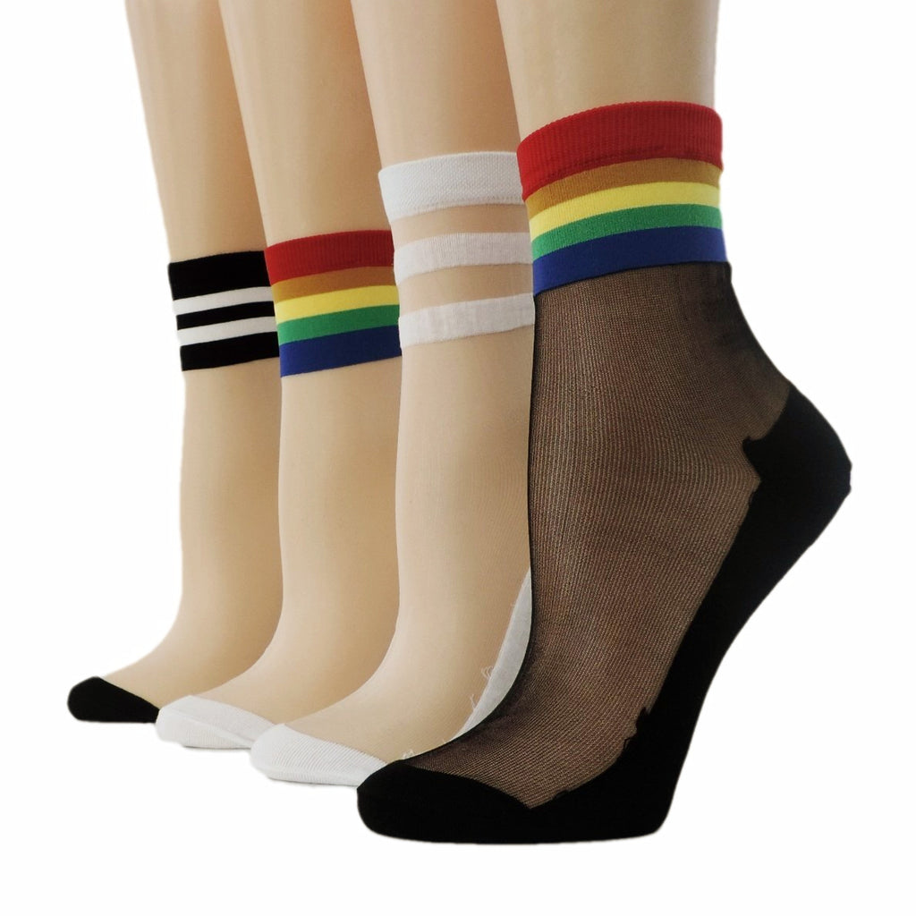 Multi Striped Sheer Socks (Pack of 4 Pairs) - Global Trendz Fashion®