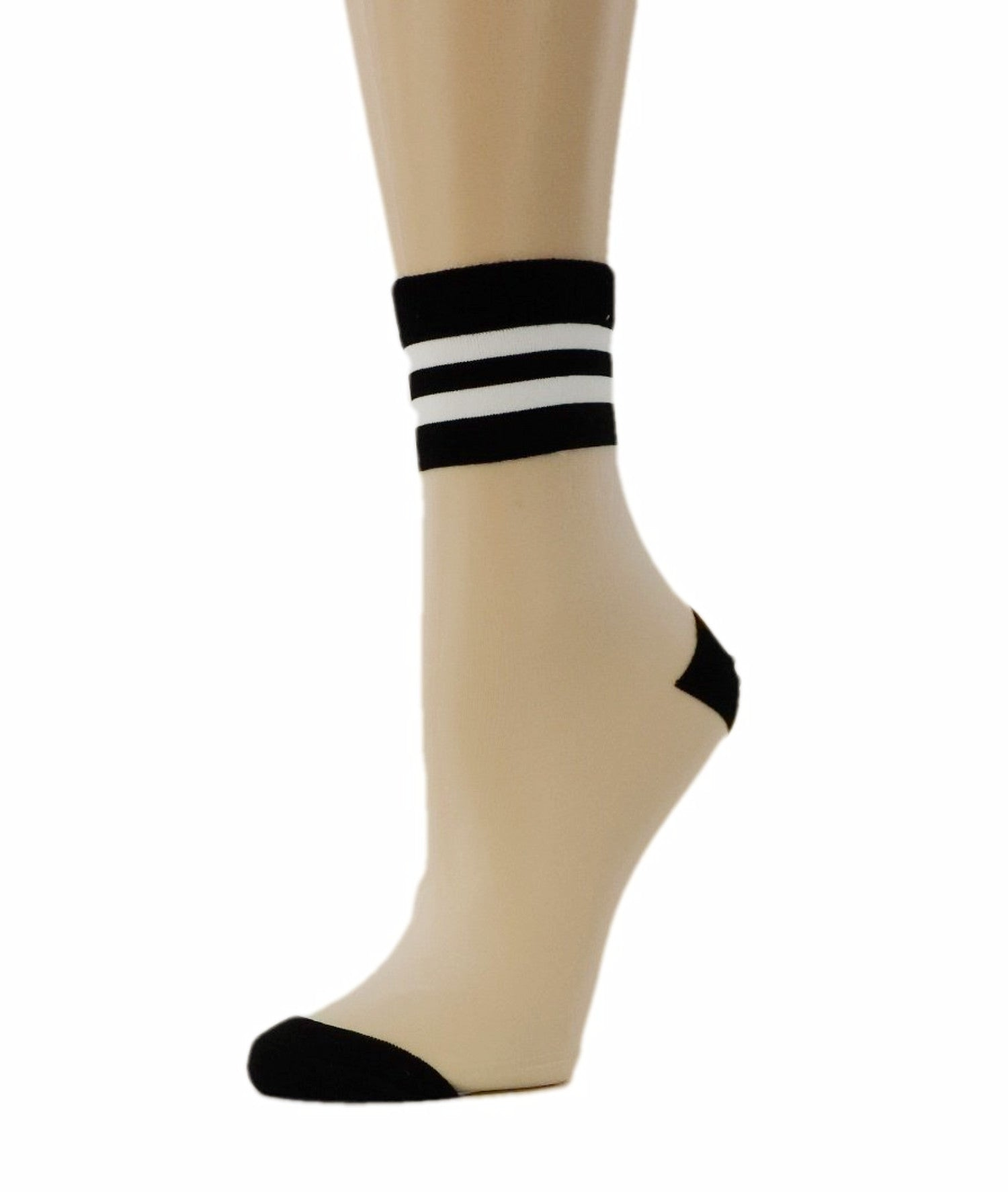 Decent White Striped Sheer Socks - Global Trendz Fashion®