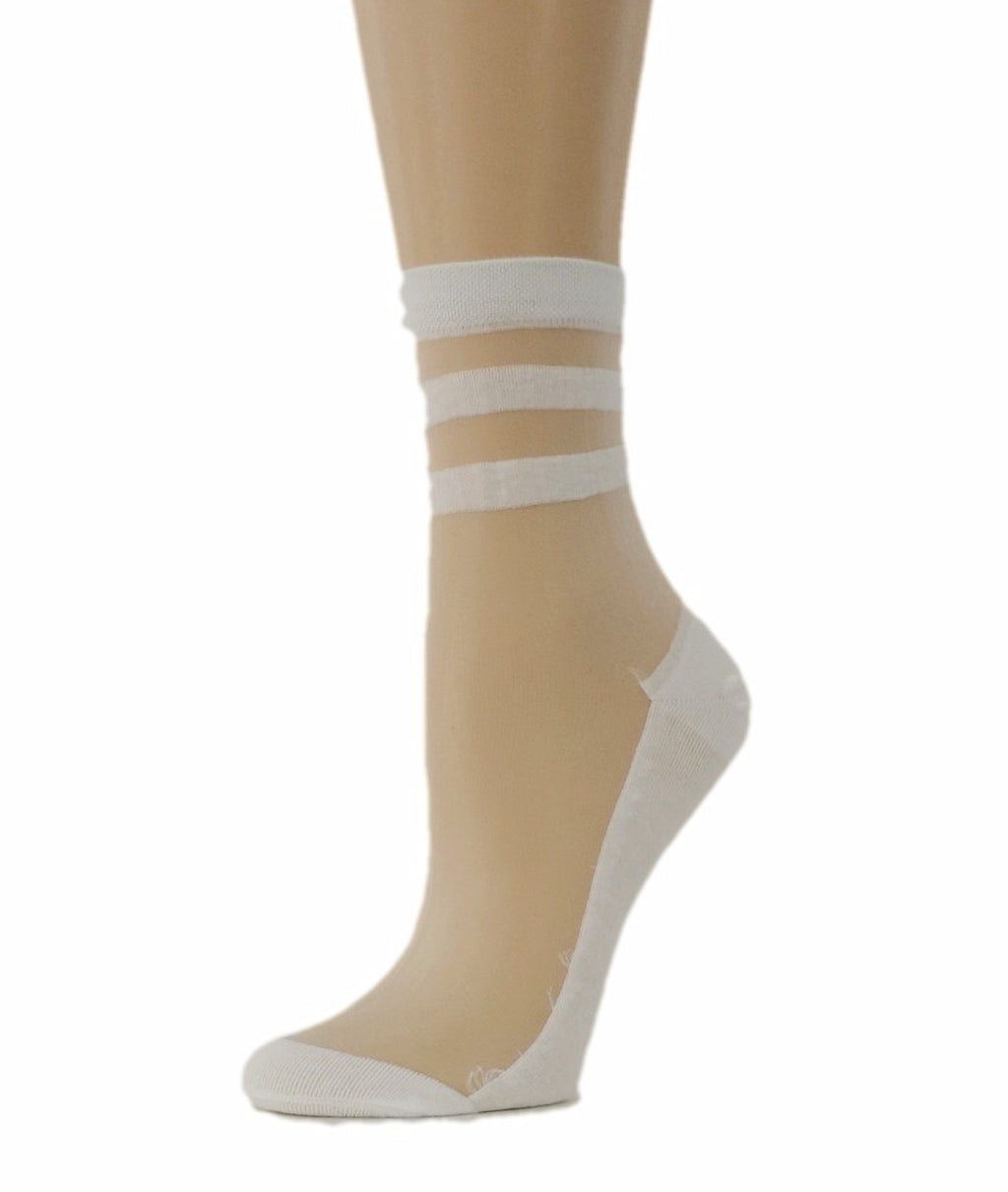 Classy White Striped Sheer Socks - Global Trendz Fashion®